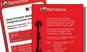 rueda de prensa sony ericsson Barcelona invitacion