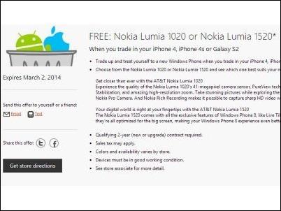 Microsoft ofrece un Nokia Lumia 1020 o 1520 gratis a cambio de los iPhone 4, 4S y Galaxy S2