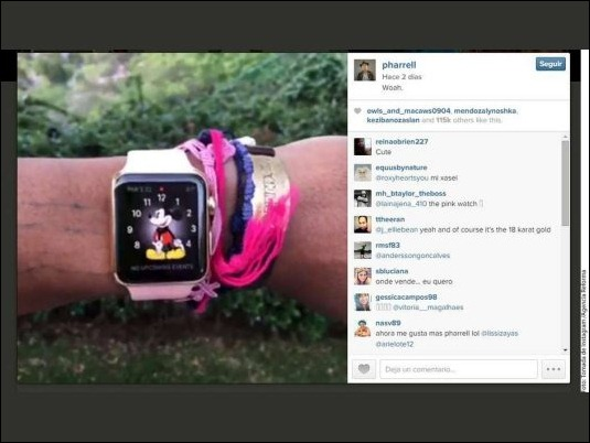 "Pharrell Williams sube a Instagram video de su ""Apple Watch"""