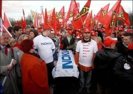 Manifestación en contra del ciere fabrica Nokia en Alemania