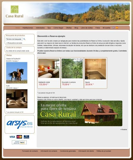 Arsys Reserva Online ejemplo