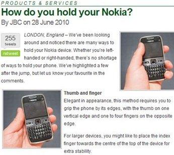 Nokia satiriza el problema de cobertura del iPhone 4 y cómo cogerlo