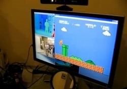 Juegan al Mario con Kinect
