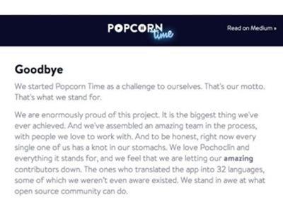 Popcorn Time cierra acosado por amenazas de la industria audiovisual americana