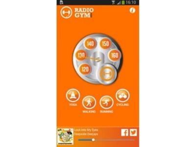 RadioGym  incorpora cuatro canales con pistas compiladas según su número de pulsaciones por minuto