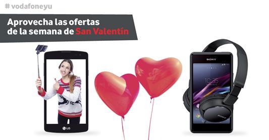 Vodafone yu rebaja los precios de packs LG y Sony Xperia por San Valentín