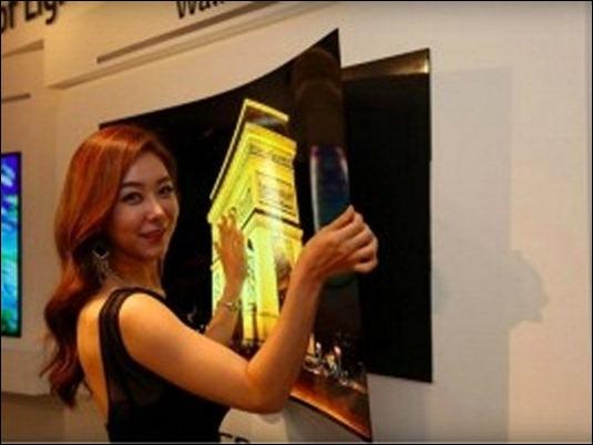 LG presenta pantalla que se pega a la pared